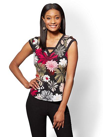 7th Avenue - Black Floral Criss-Cross V-Neck Top - New York & Company