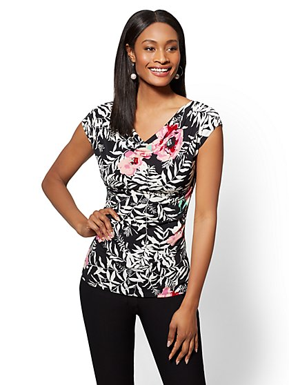 7th Avenue - Black Floral Draped & Ruched Top - New York & Company