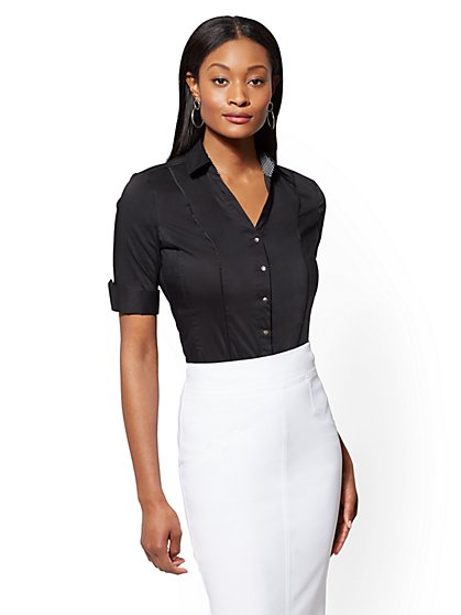 7th Avenue - Black Madison Stretch Shirt - New York & Company