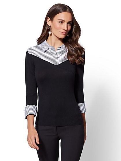 7th Avenue - Black Stripe Twofer Sweater - New York & Company