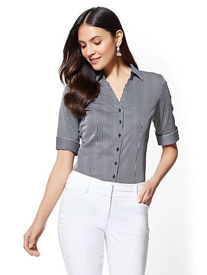 7th Avenue - Black Striped Madison Stretch Shirt - New York & Company
