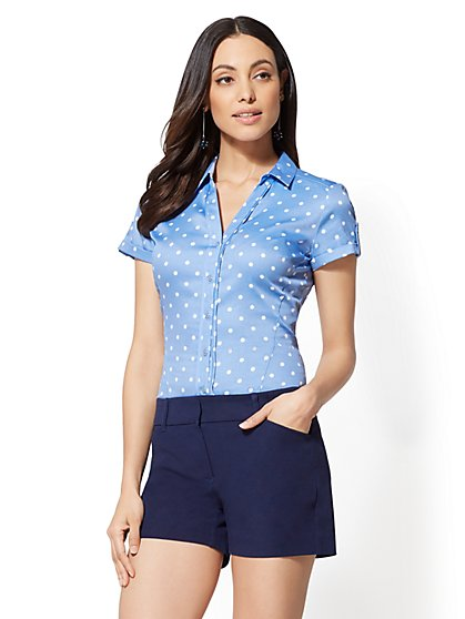 7th Avenue - Blue Dot-Print - Short Sleeve - Madison Stretch Shirt - New York & Company