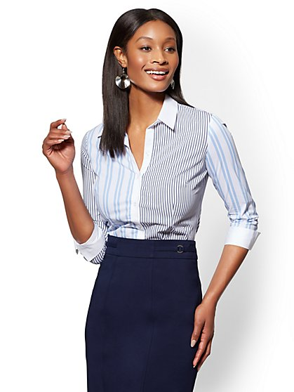 7th Avenue - Blue Mixed-Stripe Madison Stretch Shirt - New York & Company