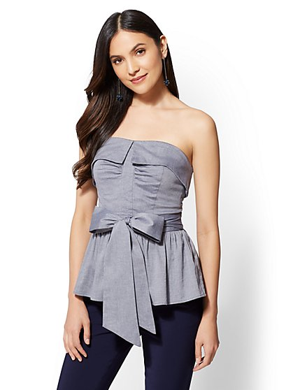 7th Avenue - Blue Strapless Wrap Shirt - New York & Company