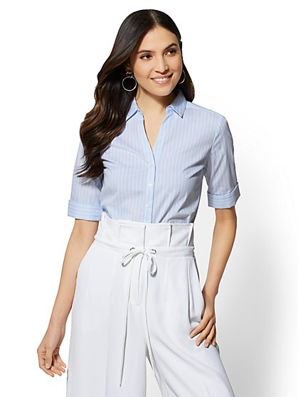 7th Avenue - Blue Stripe Madison Stretch Shirt - New York & Company
