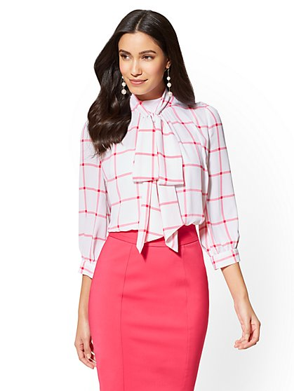 7th Avenue - Bow-Accent Blouse - Windowpane-Check Print - New York & Company