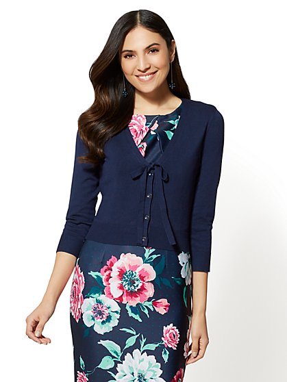 7th Avenue - Bow-Accent Layering Cardigan - New York & Company