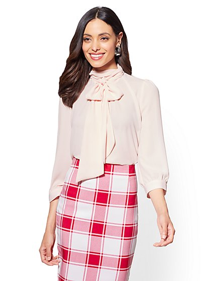 7th Avenue - Bow-Accent Mock-Neck Blouse - New York & Company