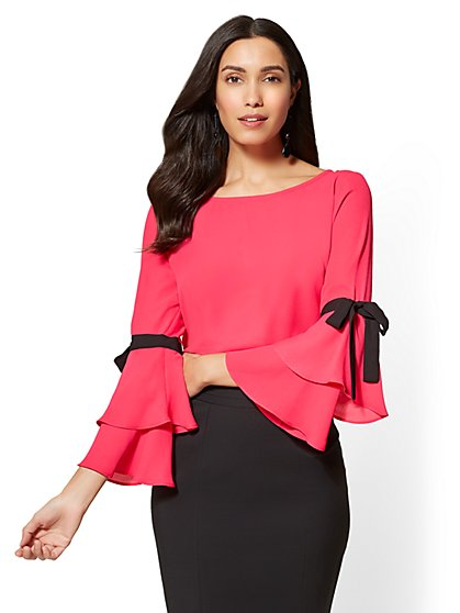 7th Avenue - Bow-Accent Statement-Sleeve Blouse - New York & Company