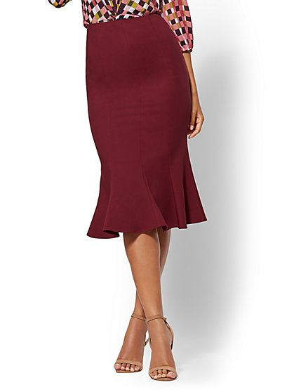 7th Avenue - Burgundy Trumpet Skirt - New York & Company