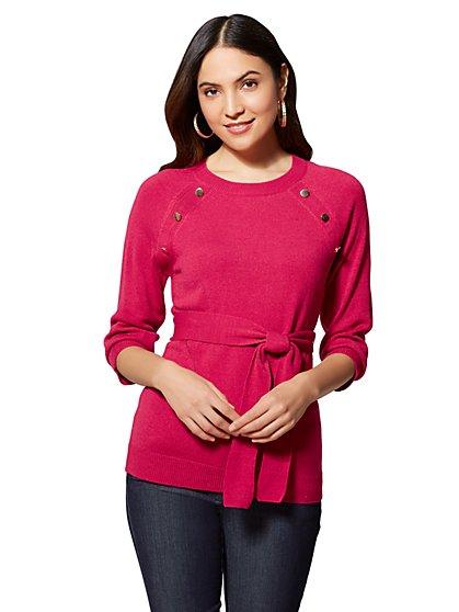 7th Avenue - Button-Accent Crewneck Sweater - New York & Company