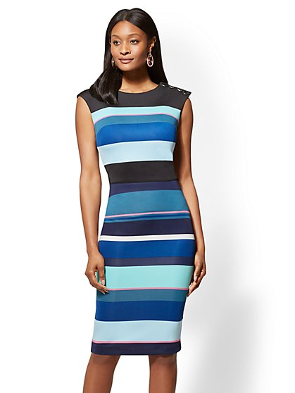 7th Avenue - Button-Accent Striped Sheath Dress - New York & Company
