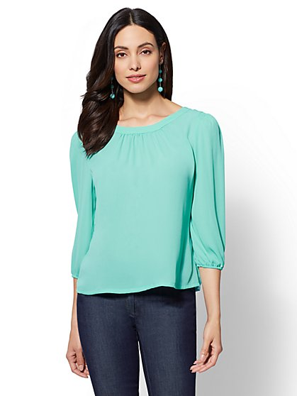 7th Avenue - Button-Back Scoopneck Blouse - New York & Company