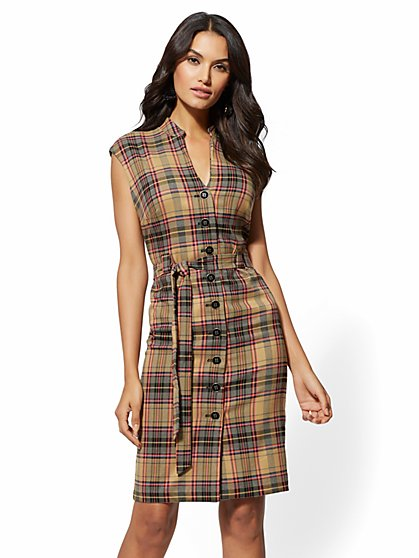 7th Avenue - Camel Plaid Belted Shirtdress - New York & Company