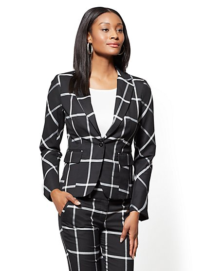 7th Avenue Check Print One-Button-Jacket - Modern - New York & Company