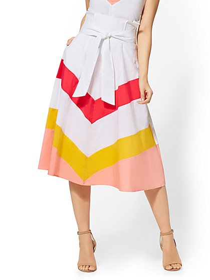 7th Avenue - Chevron-Stripe Paperbag-Waist Skirt - New York & Company