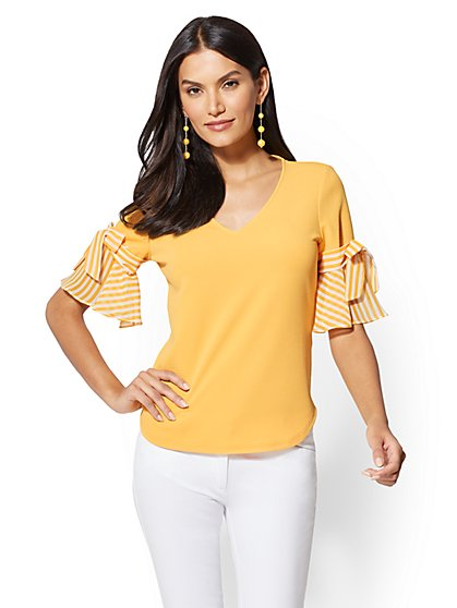 7th Avenue - Chiffon-Sleeve V-Neck Top - New York & Company