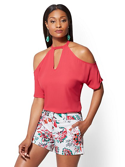 7th Avenue - Cold-Shoulder Halter Blouse - New York & Company