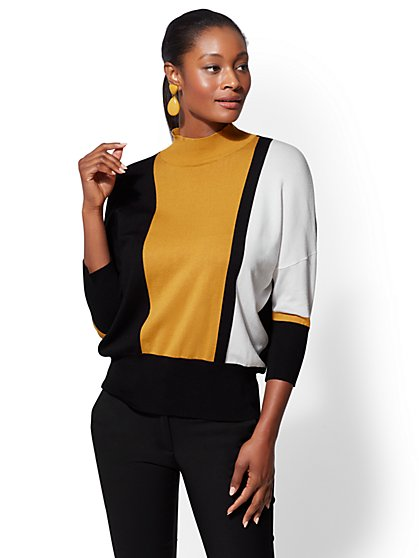 7th Avenue - Colorblock Dolman Sweater - New York & Company