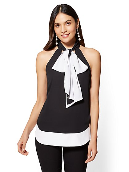 7th Avenue - Colorblock V-Neck Blouse - New York & Company