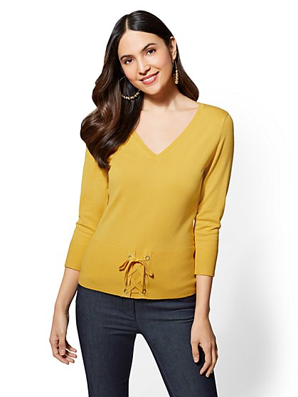 7th Avenue - Corset V-Neck Sweater - New York & Company