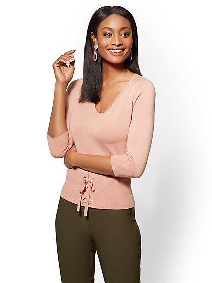 7th Avenue - Corset V-Neck Sweater - New York & Company