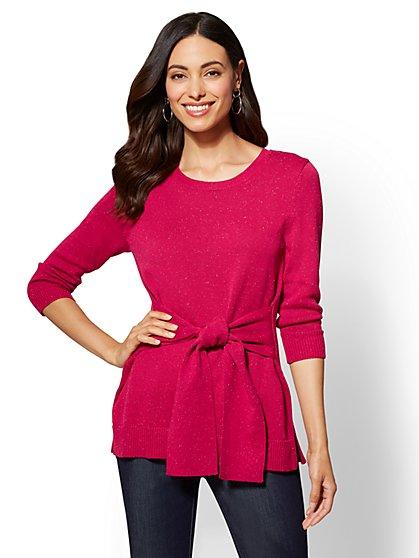 7th Avenue - Crewneck Tunic Sweater - Magenta - New York & Company