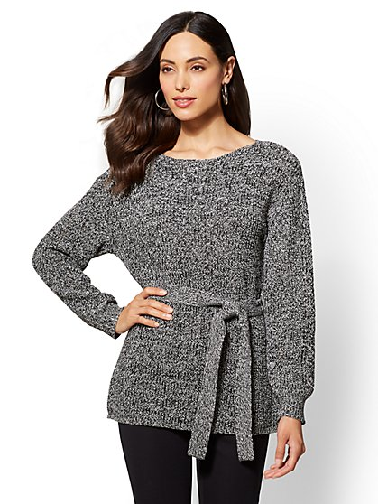 7th Avenue - Crewneck Tunic Sweater - Marled - New York & Company