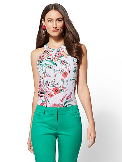7th Avenue - Floral Cutout Halter Top - New York & Company