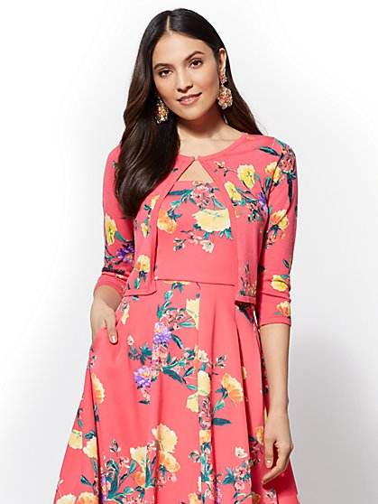 7th Avenue - Floral Dress Cardigan - New York & Company
