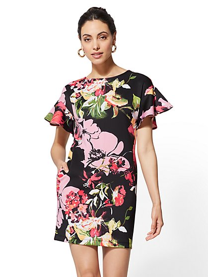 7th Avenue - Floral Flounced-Sleeve Shift Dress - New York & Company