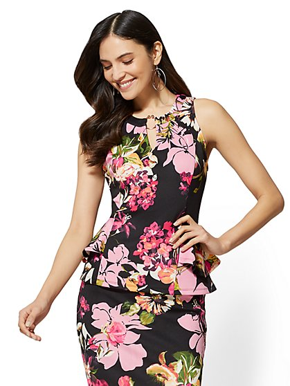 7th Avenue - Floral Hardware-Accent Peplum Shell - New York & Company