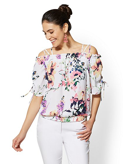 7th Avenue - Floral Off-The-Shoulder Blouse - New York & Company