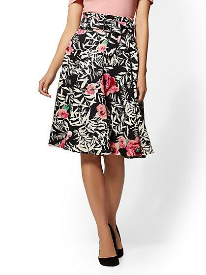 7th Avenue - Floral Paperbag-Waist Full Skirt - New York & Company