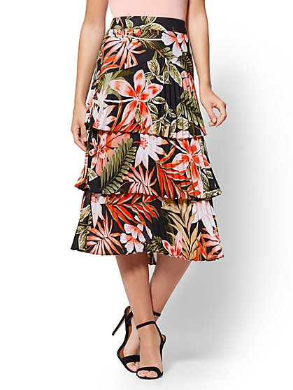 7th Avenue - Floral Pleated Midi Skirt - New York & Company