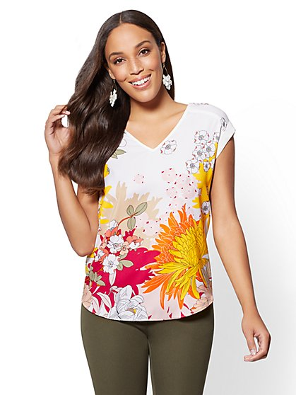 7th Avenue - Floral-Print V-Neck Top - New York & Company