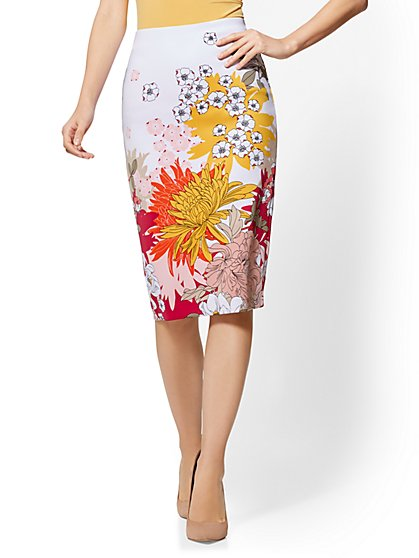 7th Avenue - Floral Pull-On Pencil Skirt - New York & Company