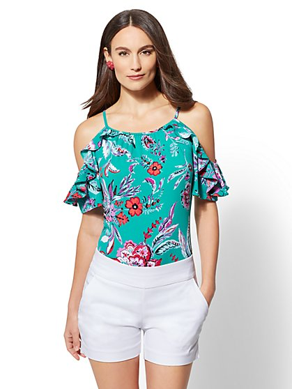7th Avenue - Floral Ruffled Cold-Shoulder Top - New York & Company