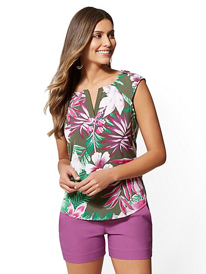 7th Avenue - Floral Split-Neck Top - New York & Company