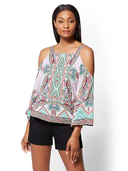 7th Avenue - Floral & Stripe Cold-Shoulder Blouse - New York & Company