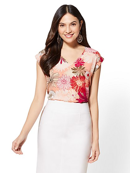 7th Avenue - Floral V-Neck Top - New York & Company