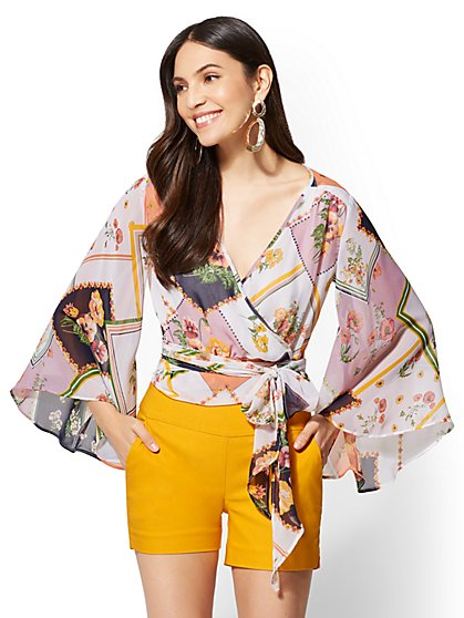 7th Avenue - Floral V-Neck Wrap Blouse - New York & Company