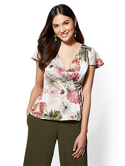 7th Avenue - Floral Wrap Peplum Blouse - New York & Company