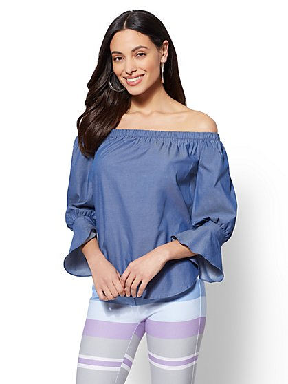 7th Avenue - Flounced-Cuff Off-The-Shoulder Shirt - New York & Company