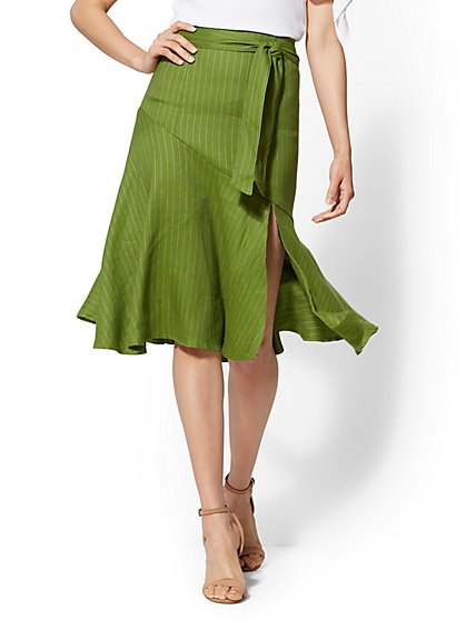 7th Avenue - Flounced Green Linen Skirt - New York & Company