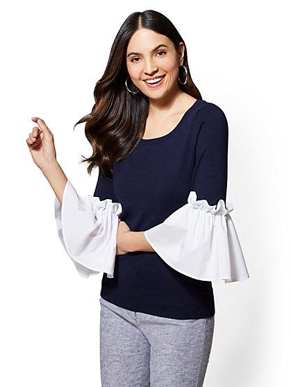 7th Avenue - Flounced-Sleeve Sweater - New York & Company