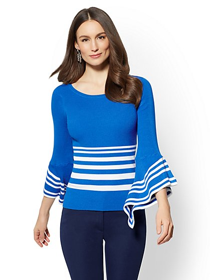 7th Avenue - Flutter-Sleeve Sweater - Stripe - New York & Company