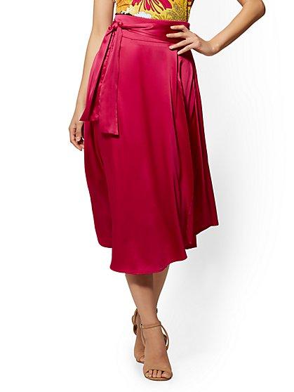 7th Avenue - Fuchsia Satin Wrap Skirt - New York & Company