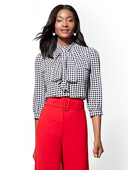 7th Avenue - Gingham Print Bow Blouse - New York & Company