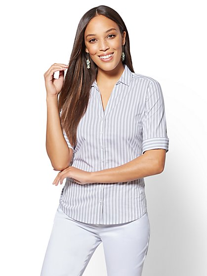 7th Avenue - Grey Stripe Madison Stretch Shirt - New York & Company